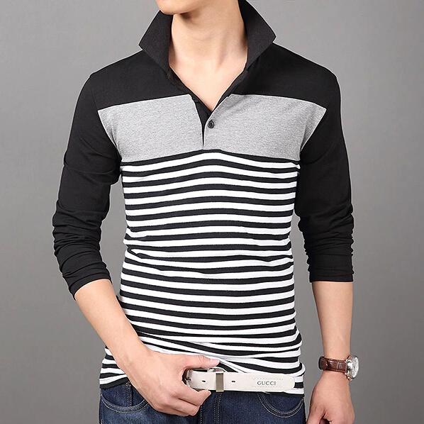 Mens Black And White Striped Tee Shirt