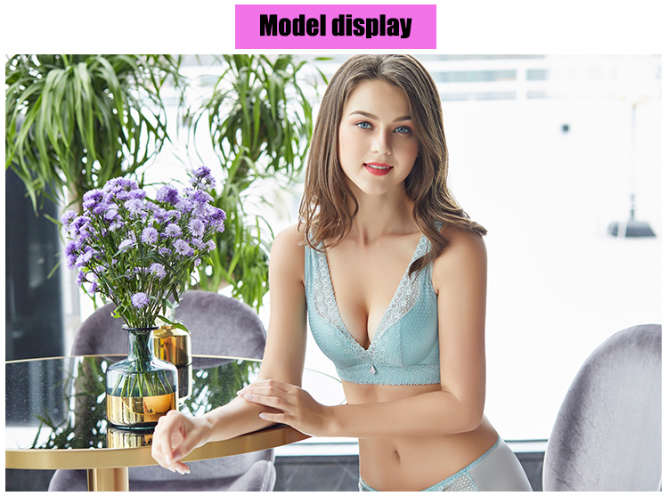 fashion fashion lace sexy thin deep v-neck push up underwear hot-selling vintage solid color bra set