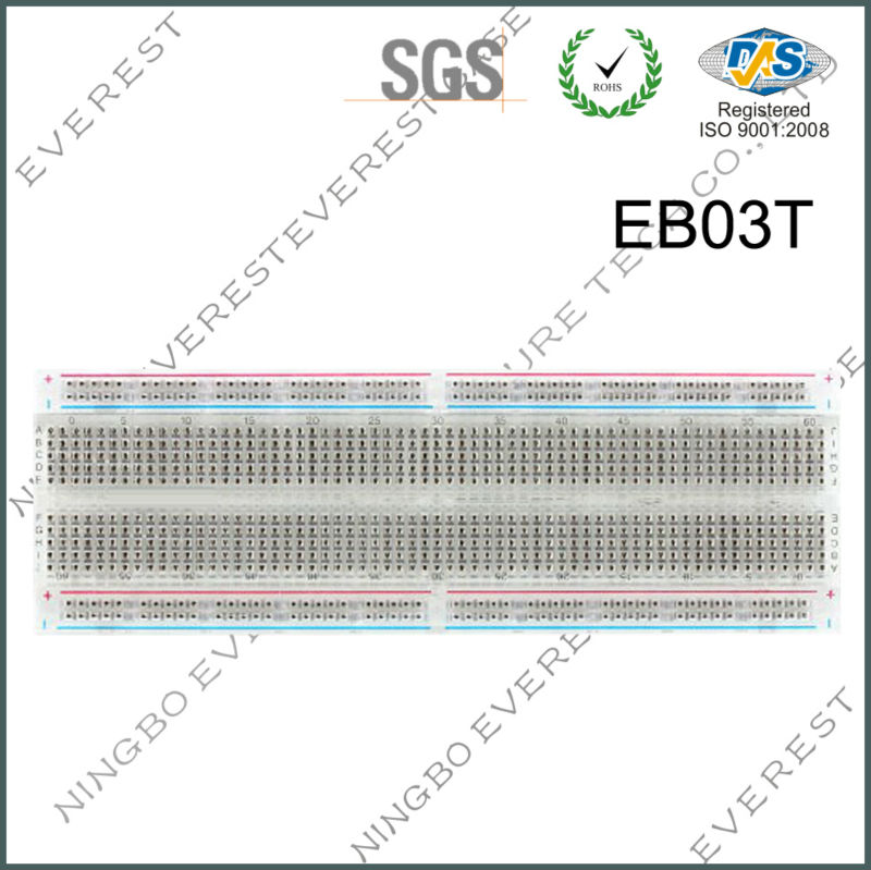 MB102 MB-102 Breadboard Reusable 830PTS Solderless Breadboard, Clear Protoboard for experiment,Transparent / Crystal BreadBoard