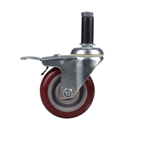 Hot style design pvc purplish red plate universal swivel caster and wheel
