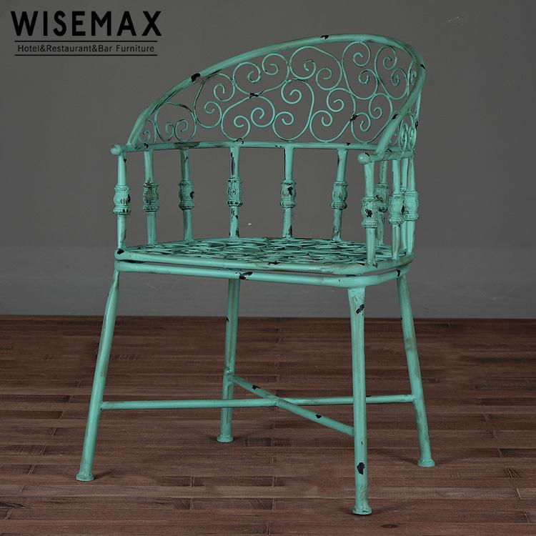 Antique Retro Industrial Old Iron Metal Garden Chair Outdoor Vintage