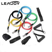 2017 New Product 11pcs Resistance Bands With Foam Handles For Yoga Pilates Abs Exercise Tube Workout Fitness Kits