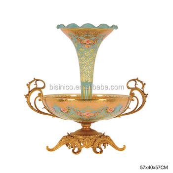 Luxury Enamel Colored Textured Fruit Bowl With Vaseantique