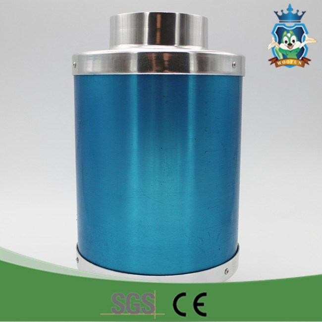 Blue cylinder hydroponics in agriculture ventilation system exhaust muffler