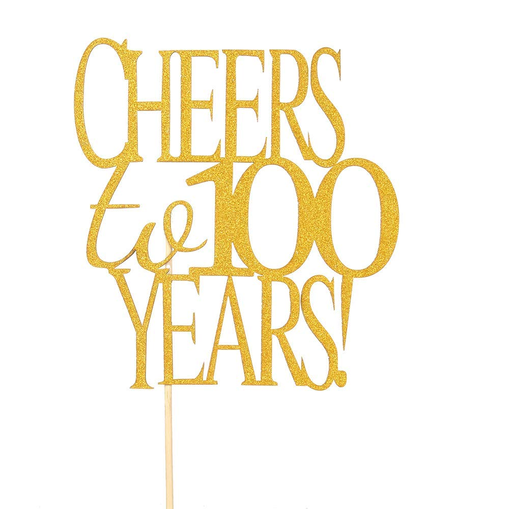Get Quotations Cheer To 100 Years Cake Topper Gold Glitter Hello100 Happy Birthday