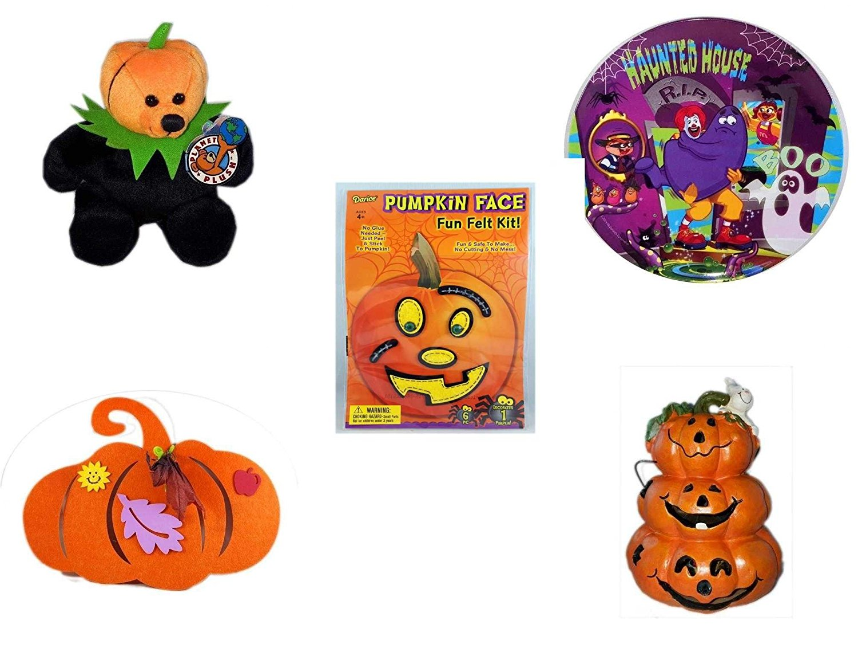 "Halloween Fun Gift Bundle [5 piece] - Jacko The Halloween Beanie Bear Limited Edition Collectible 7"" - McDonald's Haunted House, RIP, Boo Halloween Plate - Darice Pumpkin Face Fun Felt Kit - Stitche"