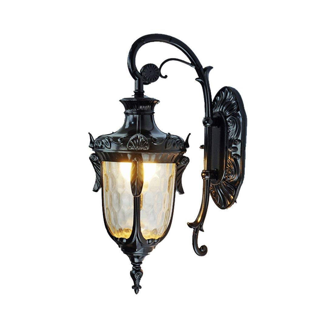 Baycher Retro Rustic Security Traditional Outdoor Waterproof Rust-Resistant Alloy Wall Light Living Room Corridor LED Glass Wall Lamp for Garden Balcony Porch (Color : Black)