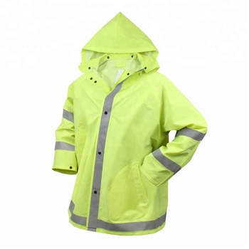 Customized 100% polyester one piece reflective rain suit for men
