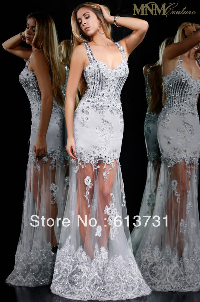 2013 See Through Sweetheart Silver Mermaid Tulle Evening ... Lace Prom Dresses 2013