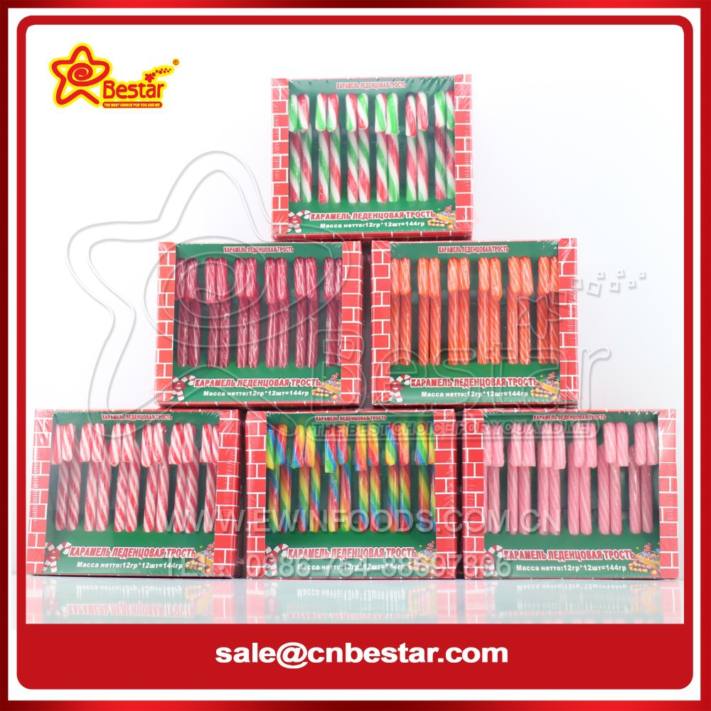 Hot Sale Christmas Assorted Fruit Candy Canes