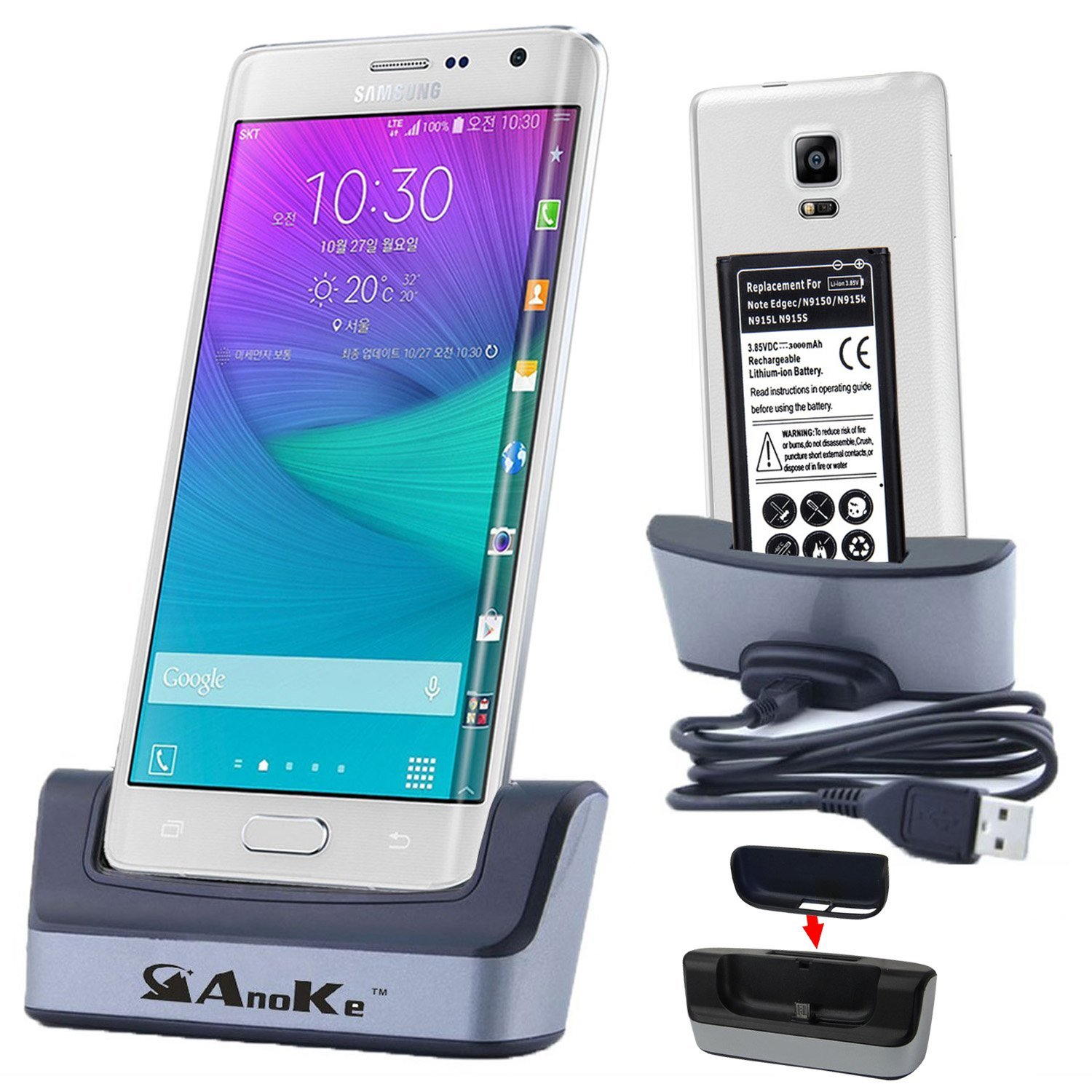 Galaxy Note Edge Charger, Note Edge Battery Charging Station, AnoKe USB 3.0 Dual Sync Desktop Charging Docking Station Cradle - Support Charging Spare Battery for Samsung Galaxy Note Edge Dock