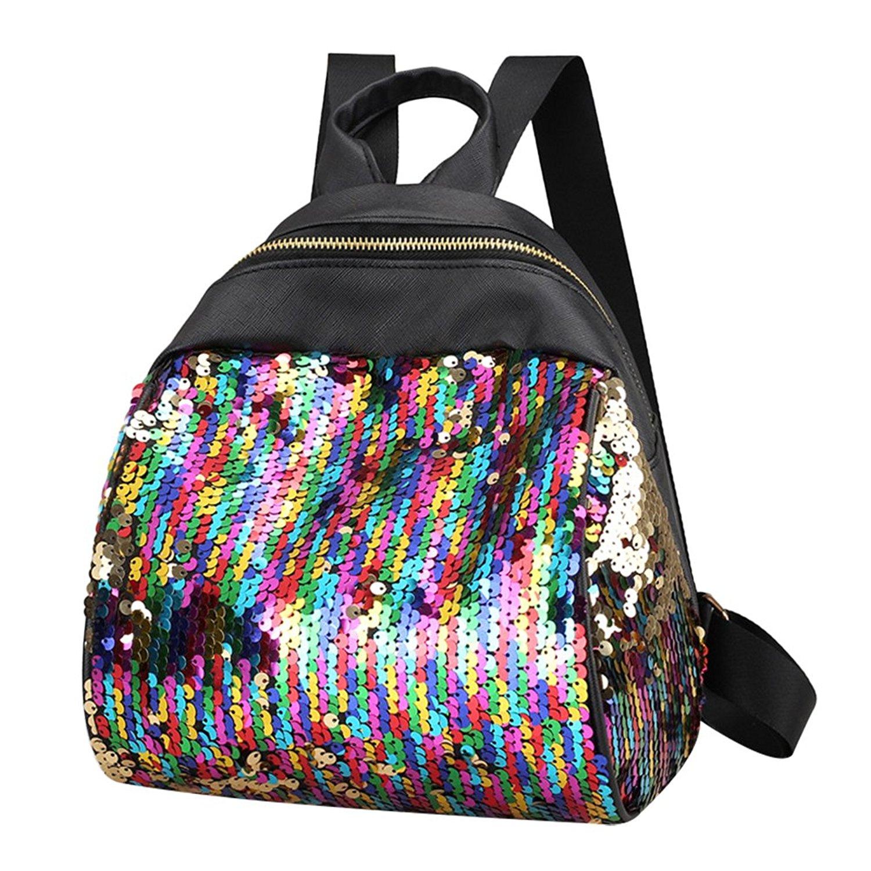 Sequin Backpack OULII Fashion PU Leather Shoulder Bag Casual Sequins Backpack Travel School Bag Gift for Women Friends
