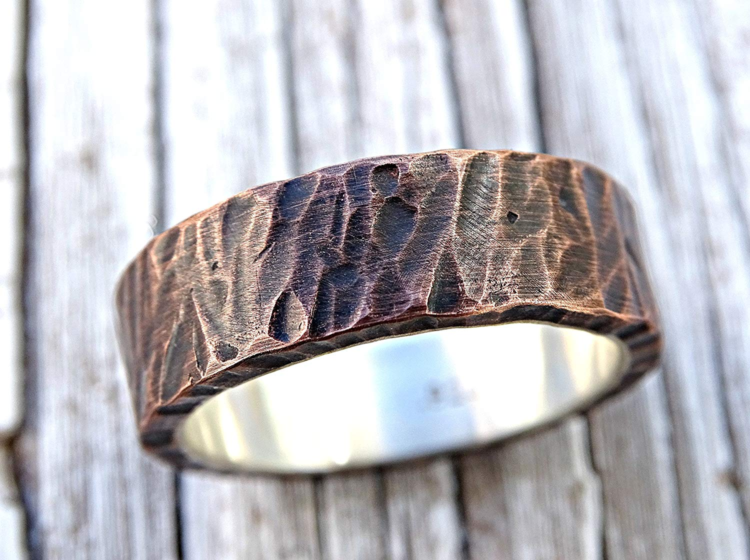 Get Quotations · Mens Wedding Band Copper Rustic Ring Silver Unique: Steunk Grooms Wedding Band At Reisefeber.org