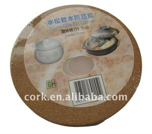 eco-friendly, Heat Protection Table Mat, Round Cork Pot Coaster