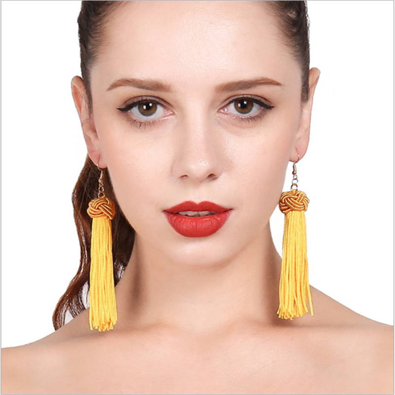 2017 Hot New Products Unique Knot Beautiful Tassel Earrings Designs For Women
