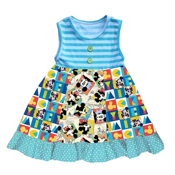Dropship Children clothing 2019 summer girls blue striped cartoon puzzle dress rts