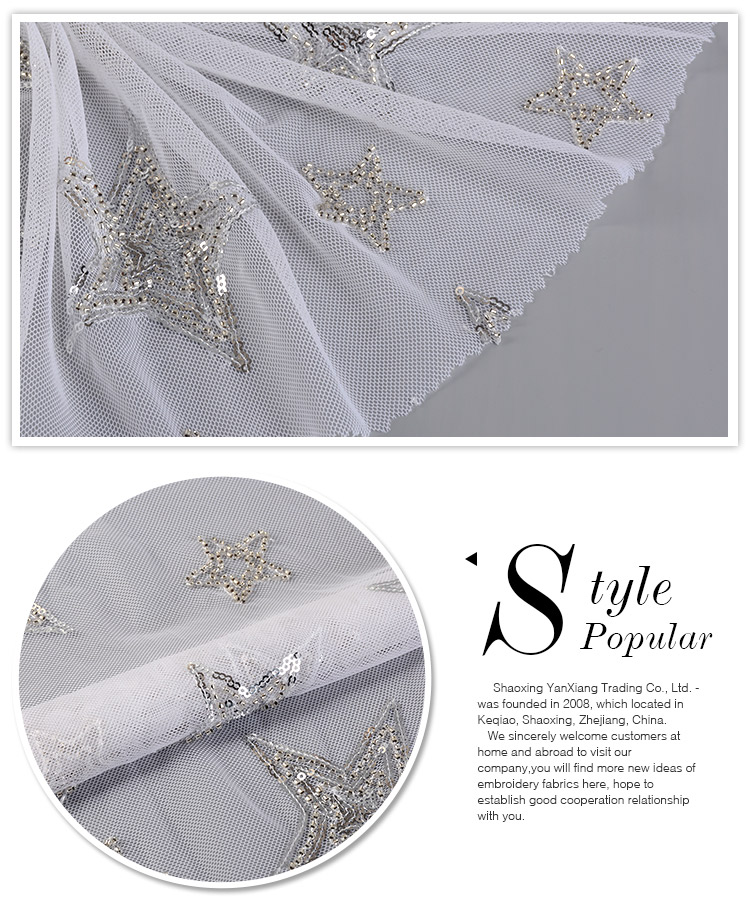 Good quality fashionable comfortable star pattern poly lace fabric beaded