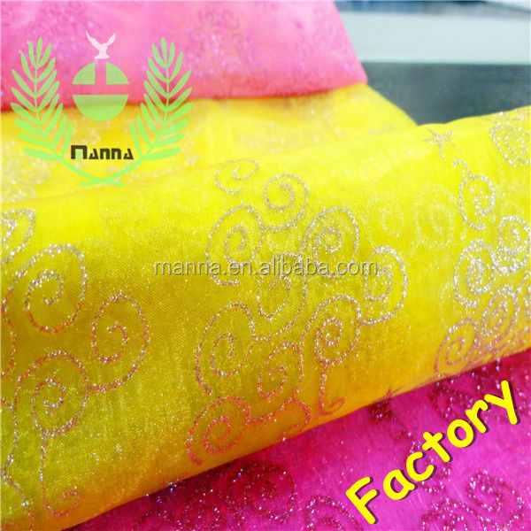 Yellow organza christmas decoration glitter organza fabric <strong>polyester</strong>