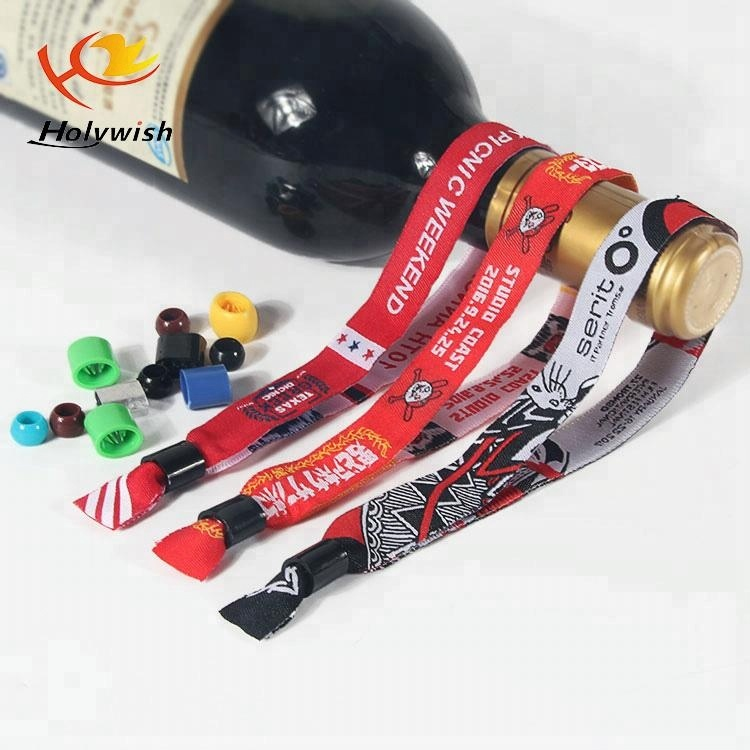 Polyester custom embroidery wristband for festival,fabric bracelets