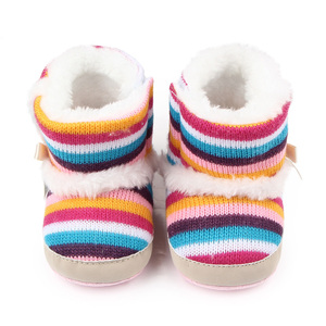 Wholesale rainbow wool and warm baby winter boots shoes for girls