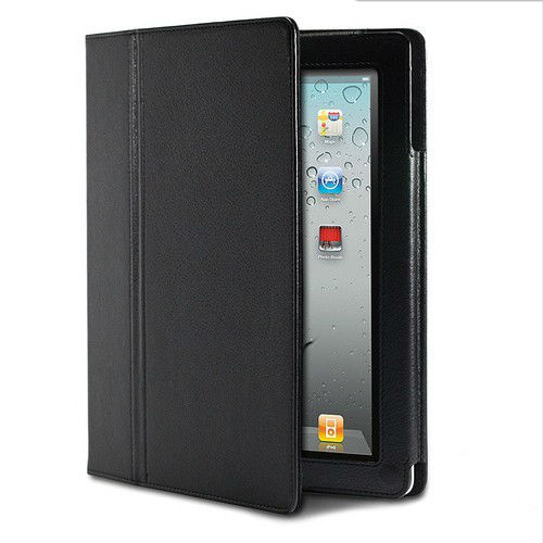 NEW BLACK LEATHER FLIP MAGNETIC PROTECTOR CASE COVER STAND for APPLE for IPAD 2 for IPAD 3