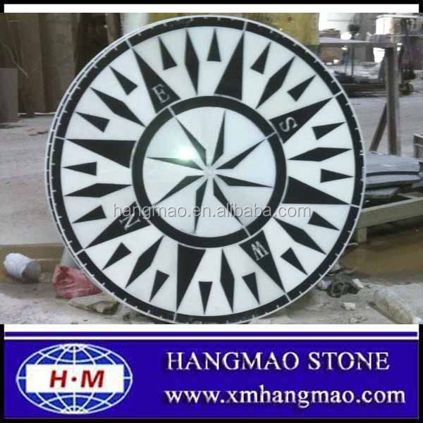 Marble and granite compass rose
