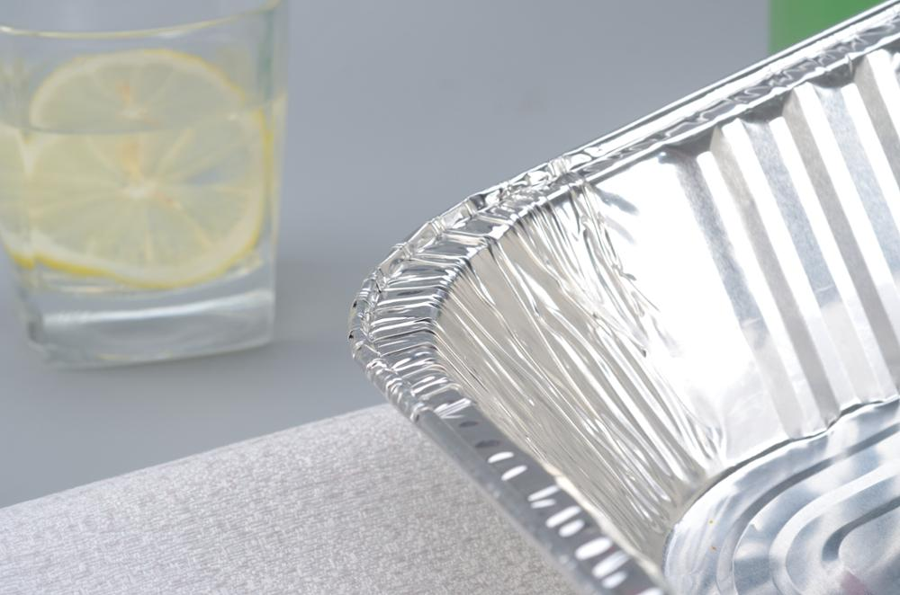 Disposable rectangle aluminum foil cake bread baking tray