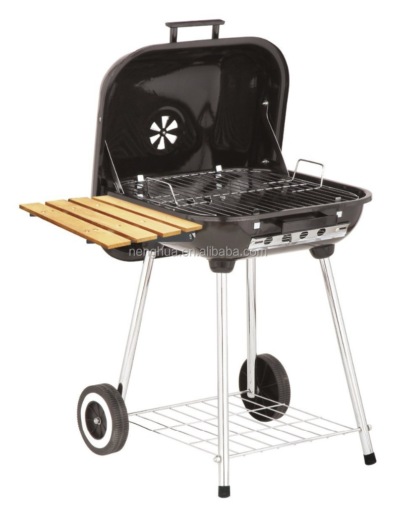 Simple outdoor bbq grill Charcoal Brazier with Wood Shelf
