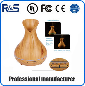 Amazon Hot Selling Big Mist 400ml Vase Tulip Wood Aroma Diffuser Aromatherapy