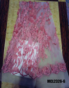 3D lace flower handwork French embroidery fabric 3d tulle wedding bridal beaded fabrics