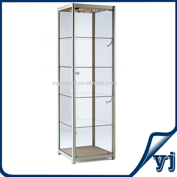 79 Inch Height Fancy Silver Pedestal Glass Display Show Case W ...