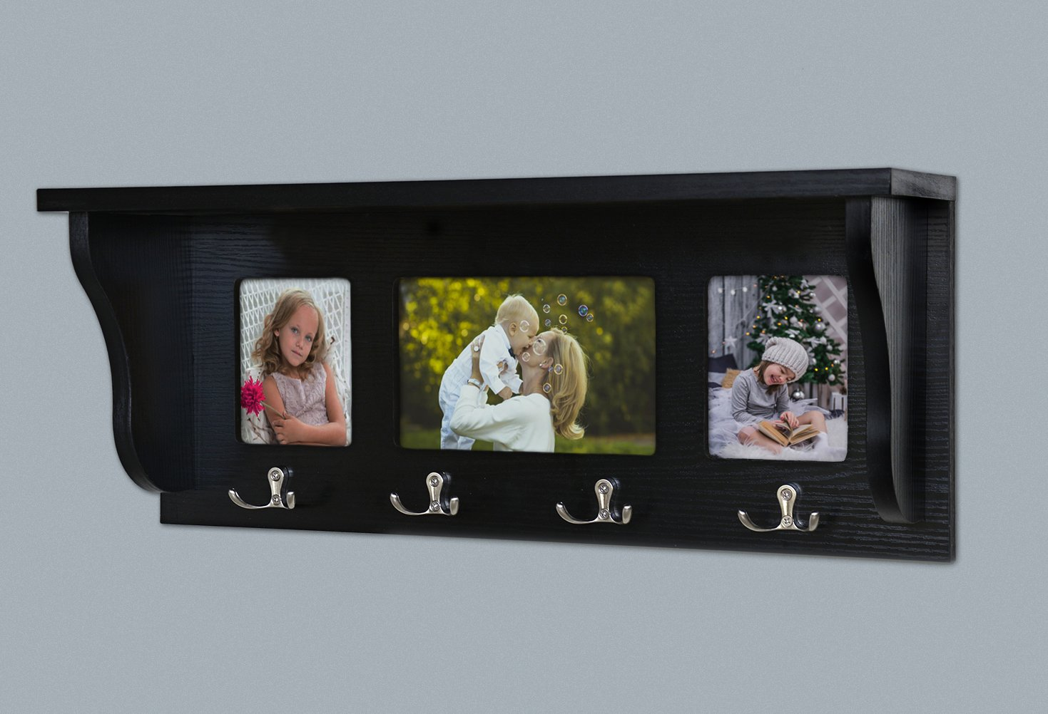 Floating Shelves Floating Entryway Shelf & Coat Rack, Black Wall Mount Can Be Placed Photo, Wall Shelf