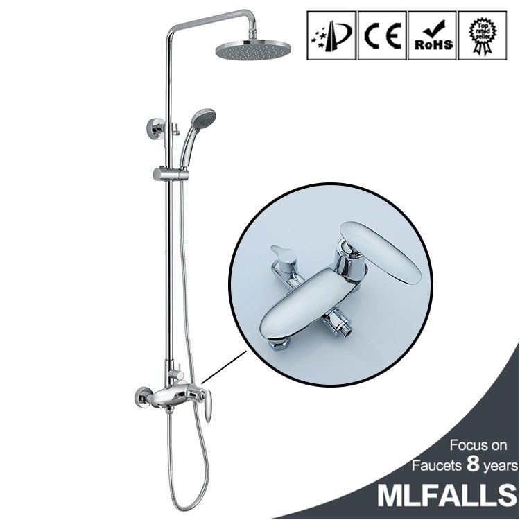 Round rain head Chrome chromed brass shower faucet bath mixer tap set with handheld shower