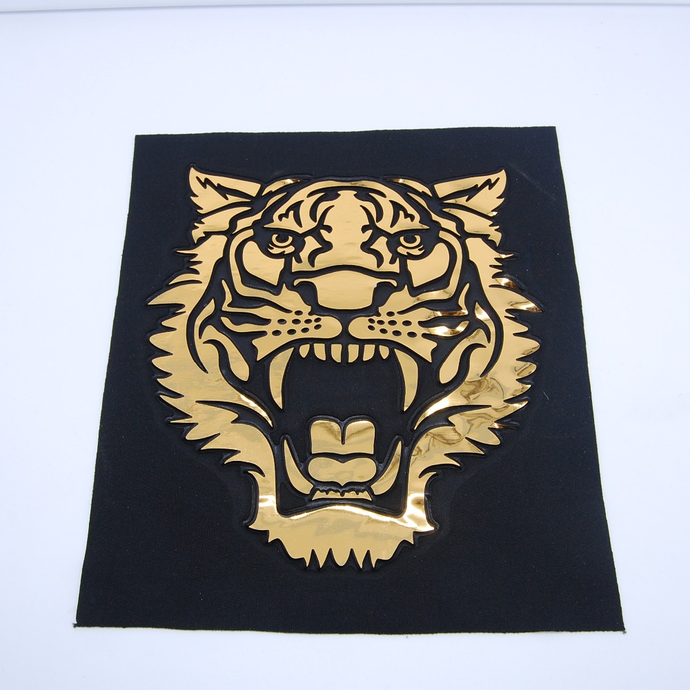 Wholesale fashion 3D printed garment patch embossed leather knit tiger patch