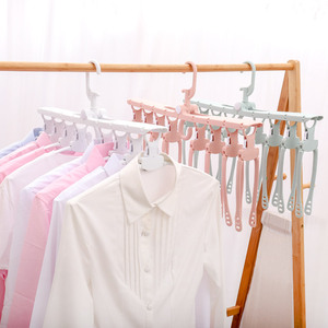 plastic non-slip folding clothes hanger multifunctional retractable hanger rack closet clothing storage rack drying rack