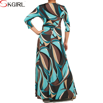 African Printed 3/4 Sleeve Belt Plus Size Wrap Maxi Dresses For Women  Elegant Evening Party Wear - Buy Maxi Dresses For Women,Dresses For Women  ...