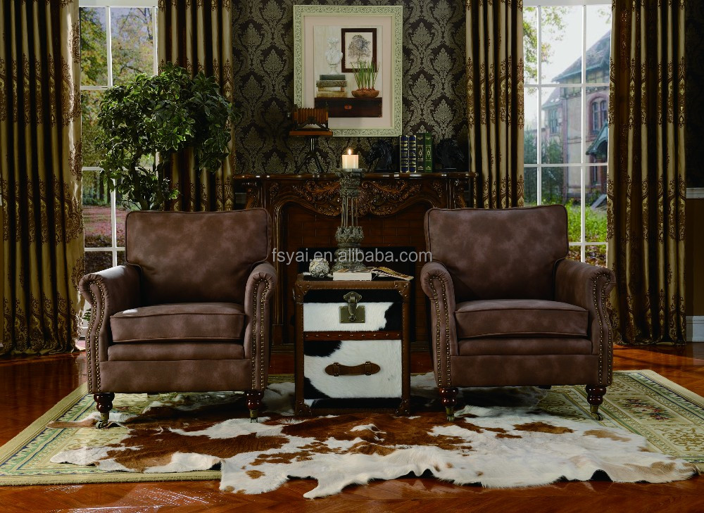 Hookah Lounge Furniture Sofa Leather Antique Sofa Carved Wood Frame