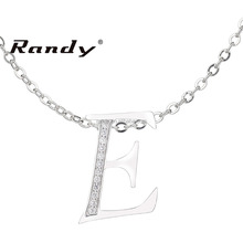 Newest Design White AAA Cubic Zirconia Pave Setting Letter Initial E Pendant Necklace