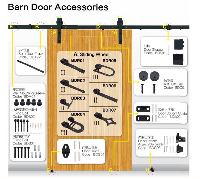 Sliding Door Roller Rail With Door Stop,Floor Guide,Wall cket ... on