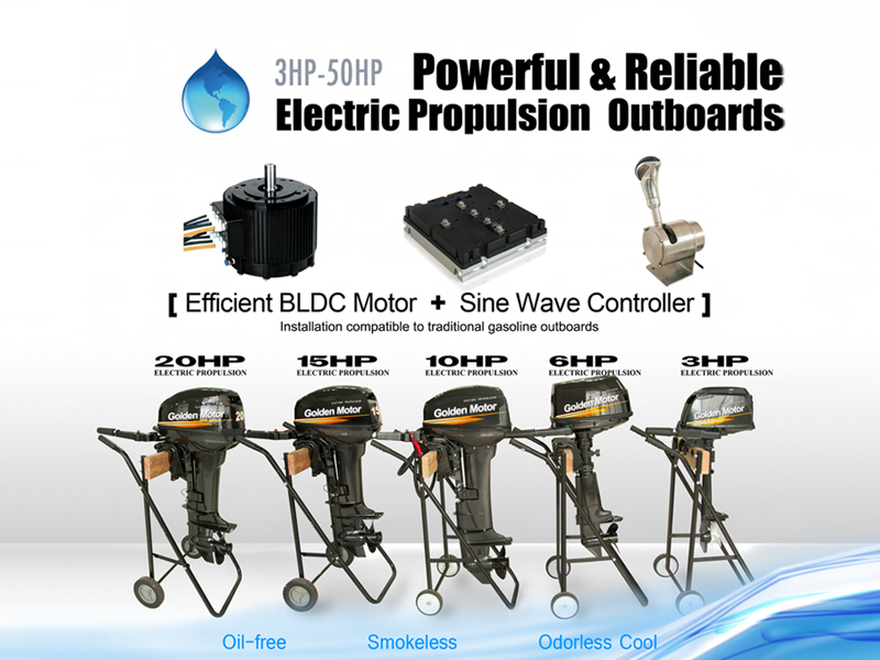 Brushless and Gear less Electric outboard engine with New Sine Wave controller
