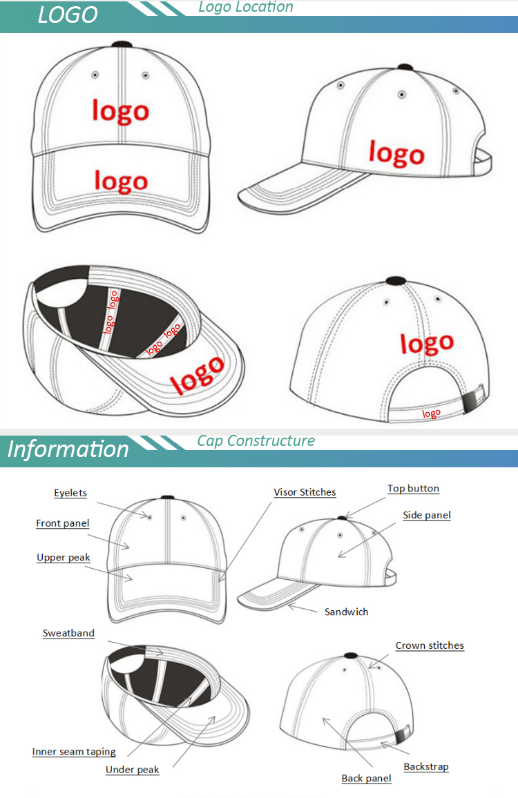 6 Panels Cotton Custom embroidered baseball cap in your own logo