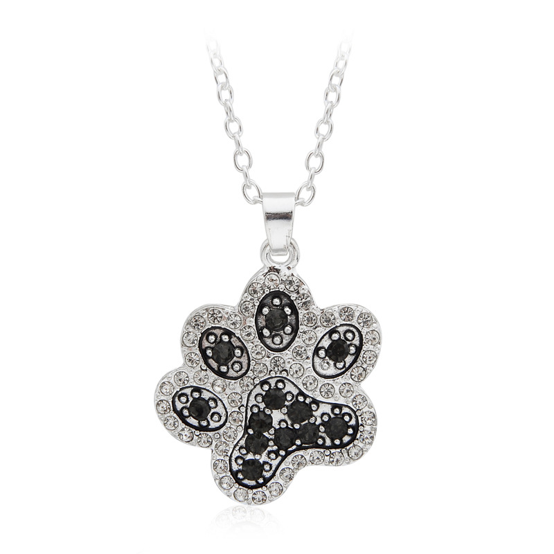 Wholesale men women fashion jewelry dog paw print pendant necklace for dog lovers