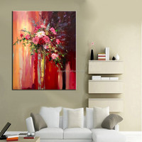 Unique Gift Artist Original Handmade Abstract Bouquet of Flowers Oil Painting
