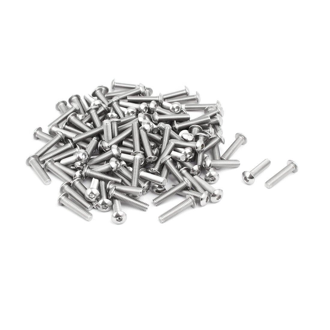 uxcell M4x18mm 304 Stainless Steel Button Head Hex Socket Cap Screws Bolts 120pcs