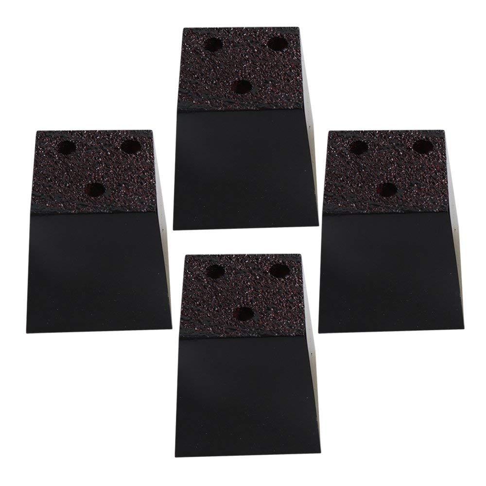 RDEXP 2.95x2.95x3.15 Black Wooden Trapezoidal-shape Sofa Legs Furniture Feet 3 Holes Sofa DIY Assembly Set of 4