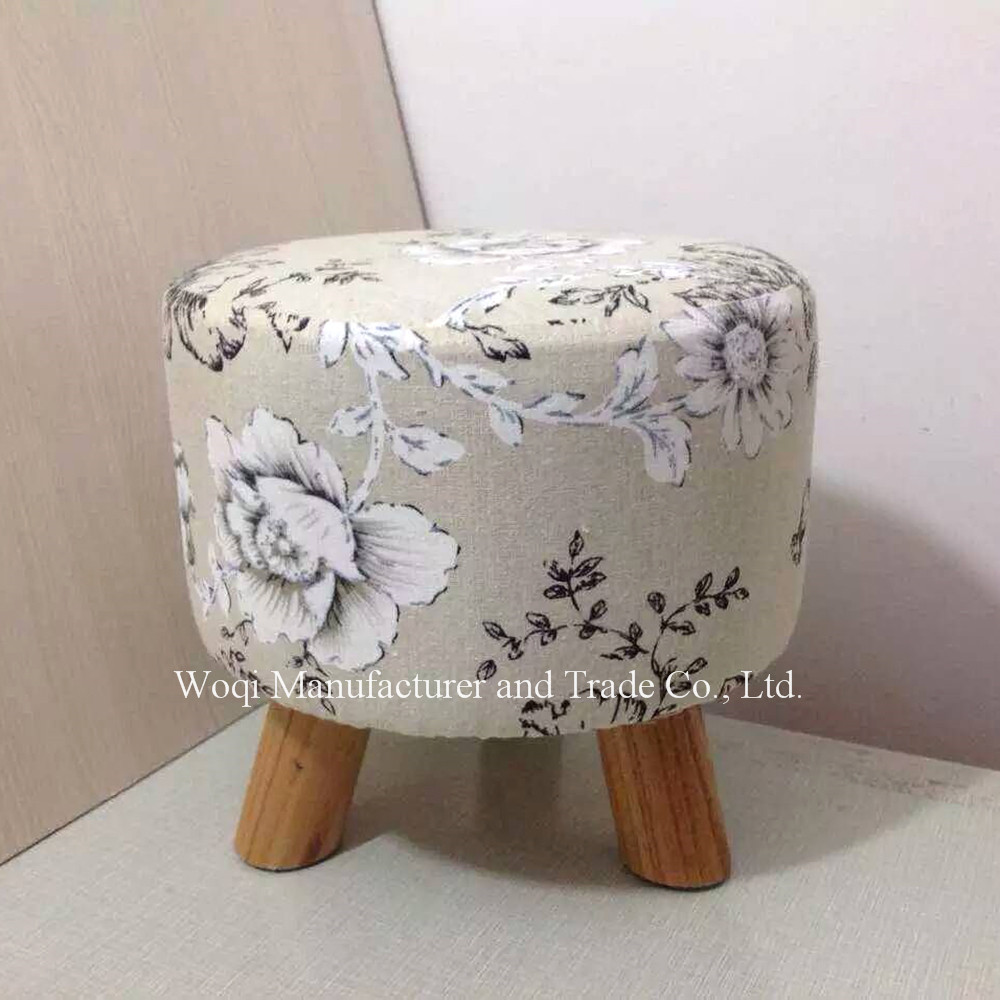 2017 Good quality Wooden frame Print Fabric covered colorful Storage ottoman,wooden round footstool