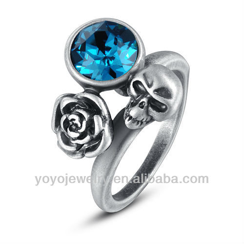 cubic zirconia blue diamond jewelry flower shape silver lucky expendables skull ring