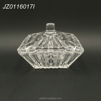 Wholesale factory price high-white material square design clear crystal glass candy jar with lid, glass sugar pot set of 3
