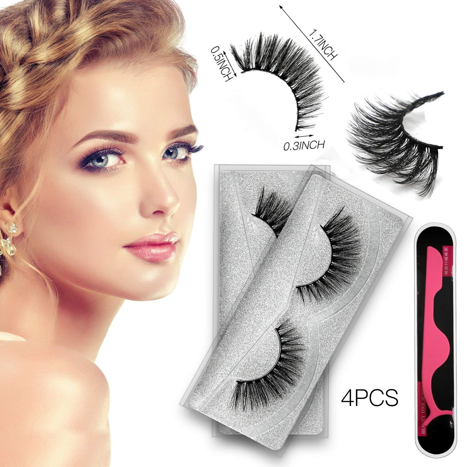 83b1adc4b09 3D Mink Eyelashes Extensions, 2 Box/2Pairs Reusable Fake Eyelashes Curler  Set, 100