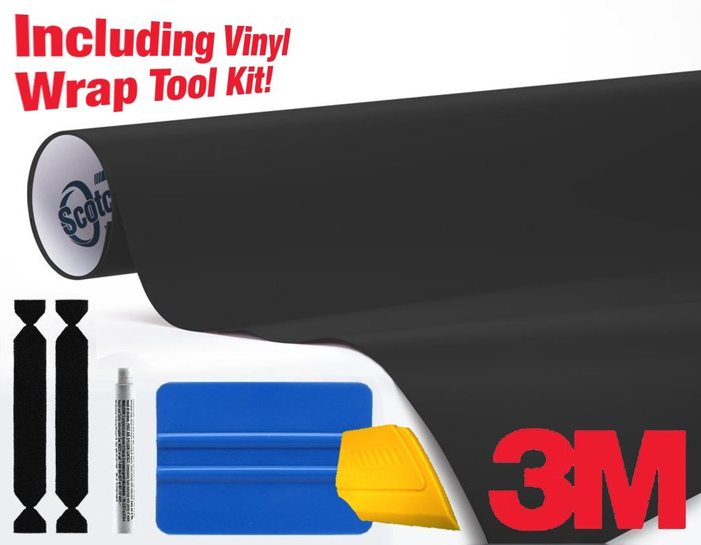 3M 1080 Matte Deep Black Air-Release Vinyl Wrap Roll Including Toolkit (75ft x 5ft)